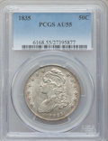 Bust Half Dollars: , 1835 50C AU55 PCGS. PCGS Population (125/260). NGC Census:(105/395). Mintage: 5,352,006. Numismedia Wsl. Price for problem...