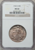 Walking Liberty Half Dollars: , 1944-S 50C MS66 NGC. NGC Census: (195/5). PCGS Population (420/5).Mintage: 8,904,000. Numismedia Wsl. Price for problem fr...