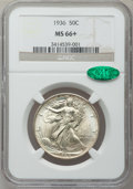 Walking Liberty Half Dollars, 1936 50C MS66+ NGC. CAC. NGC Census: (572/105). PCGS Population(788/130). Mintage: 12,617,901. Numismedia Wsl. Price f...