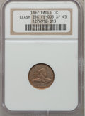 Flying Eagle Cents, 1857 1C -- Clashed with 25C -- XF45 NGC. FS-005. NGC Census:(76/2371). PCGS Population (153/2949). Mintage: 17,450,000. Nu...