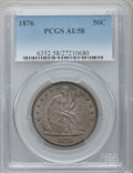 Seated Half Dollars: , 1876 50C AU58 PCGS. PCGS Population (32/218). NGC Census: (40/173).Mintage: 8,419,150. Numismedia Wsl. Price for problem f...