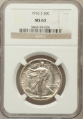 Walking Liberty Half Dollars, 1916-S 50C MS63 NGC....