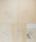 Art:Illustration Art - Mainstream, Garth Williams, illustrator. Five Preliminary Pencil Drawings forDo You Know What I'll Do?. Four initialed and on... (Total:5 Items)