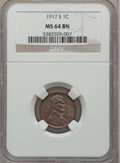 Lincoln Cents: , 1917-S 1C MS64 Brown NGC. NGC Census: (50/13). PCGS Population(53/6). Mintage: 32,620,000. Numismedia Wsl. Price for probl...