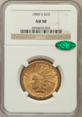 Indian Eagles, 1909-S $10 AU58 NGC. CAC....