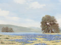 Texas:Early Texas Art - Regionalists, WILLIAM A. SLAUGHTER (American, 1923-2003). Texas Landscape withBlue Bonnets. Oil on canvas. 12 x 16 inches (30.5 x 40....