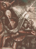 Texas:Early Texas Art - Drawings & Prints, JOHN BIGGERS (American, 1924-2001). Midnight Hour, 1995. Etching in colors. 18 x 13-1/2 inches (45.7 x 34.3 cm) (image)...
