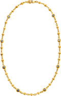 Estate Jewelry:Necklaces, Sapphire, Gold Necklace, Loree Rodkin. ...