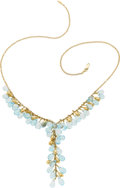 Estate Jewelry:Necklaces, Blue Topaz, Gold Necklace. ...