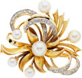 Estate Jewelry:Brooches - Pins, Cultured Pearl, Diamond, Enamel, Gold Brooch. ...