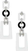 Estate Jewelry:Earrings, Quartz, Black Onyx, Diamond, White Gold Earrings, Eli Frei. ...