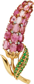 Estate Jewelry:Brooches - Pins, Tourmaline, Garnet, Diamond, Gold Brooch. ...