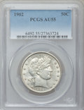 Barber Half Dollars: , 1902 50C AU55 PCGS. PCGS Population (43/178). NGC Census: (21/144).Mintage: 4,922,777. Numismedia Wsl. Price for problem f...