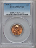 Lincoln Cents: , 1959-D 1C MS67 Red PCGS. PCGS Population (38/0). NGC Census:(100/0). Mintage: 1,279,760,000. Numismedia Wsl. Price for pro...