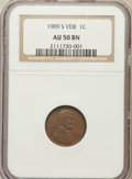 Lincoln Cents: , 1909-S VDB 1C AU50 NGC. NGC Census: (136/1870). PCGS Population(400/2437). Mintage: 484,000. Numismedia Wsl. Price for pro...