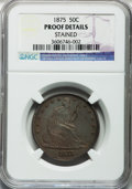 Proof Seated Half Dollars: , 1875 50C -- Stained -- NGC Details. Proof. NGC Census: (3/116).PCGS Population (11/164). Mintage: 700. Numismedia Wsl. Pri...