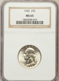 Washington Quarters: , 1942 25C MS65 NGC. NGC Census: (396/462). PCGS Population(423/249). Mintage: 102,117,120. Numismedia Wsl. Price forproble...