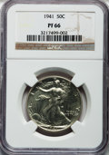 Proof Walking Liberty Half Dollars: , 1941 50C PR66 NGC. NGC Census: (941/473). PCGS Population(958/291). Mintage: 15,412. Numismedia Wsl. Price for problemfre...