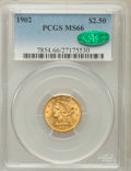 Liberty Quarter Eagles: , 1902 $2 1/2 MS66 PCGS. CAC. PCGS Population (126/38). NGC Census:(174/68). Mintage: 133,500. Numismedia Wsl. Price for pro...
