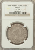 Early Half Dollars, 1806 50C Pointed 6, No Stem VF30 NGC. O-109. NGC Census: (0/0).PCGS Population (38/194)....