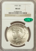 Peace Dollars, 1925 $1 MS65 NGC. CAC. NGC Census: (9979/1780). PCGS Population(6896/1564). Mintage: 10,198,000. Numismedia Wsl. Price for...
