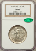Commemorative Silver: , 1939 50C Oregon MS66 NGC. CAC. NGC Census: (304/101). PCGSPopulation (279/92). Mintage: 3,004. Numismedia Wsl. Price for p...