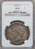 Peace Dollars: , 1928 $1 XF45 NGC. NGC Census: (133/5711). PCGS Population(156/7715). Mintage: 360,649. Numismedia Wsl. Price for problemf...