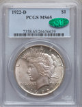 Peace Dollars: , 1922-D $1 MS65 PCGS. CAC. PCGS Population (1096/154). NGC Census:(914/239). Mintage: 15,063,000. Numismedia Wsl. Price for...