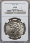Peace Dollars: , 1927 $1 MS64 NGC. NGC Census: (969/121). PCGS Population(1682/298). Mintage: 848,000. Numismedia Wsl. Price for problemfr...