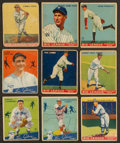 Baseball Cards:Lots, 1933 and 1934 Goudey Baseball HoFers Collection (9). ...