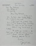 Autographs:Statesmen, Jerry Voorhis Autograph Letter Signed. The California politician'sletter comes with transmittal envelope. Near fine.... (Total: 2Items)