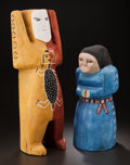 American Indian Art:Wood Sculpture, TWO NAVAJO POLYCHROME WOOD SCULPTURES. Diane Willeto Garcia...(Total: 2 Items)