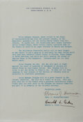 Autographs:Statesmen, Florence Harriman (diplomat) and Harold Ickes (politician) TypedLetter Signed. Undated. Very good....