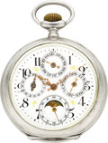 Timepieces:Pocket (post 1900), Swiss Silver Triple Calendar With Moon Phase. ...