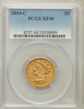 Liberty Half Eagles: , 1854-C $5 XF40 PCGS. PCGS Population (12/57). NGC Census: (9/77).Mintage: 39,200. Numismedia Wsl. Price for problem free N...