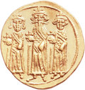 Ancients:Byzantine, Ancients: Heraclonas (AD 641), with Heraclius and HeracliusConstantine. AV solidus (20mm, 4.48 g, 6h). ...