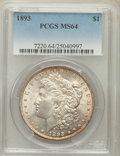 Morgan Dollars: , 1893 $1 MS64 PCGS. PCGS Population (1186/204). NGC Census:(684/86). Mintage: 389,792. Numismedia Wsl. Price for problem fr...