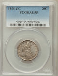 Twenty Cent Pieces: , 1875-CC 20C AU55 PCGS. PCGS Population (82/388). NGC Census:(31/372). Mintage: 133,290. Numismedia Wsl. Price for problem ...