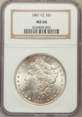 Morgan Dollars: , 1881-CC $1 MS66 NGC. NGC Census: (879/127). PCGS Population(1427/142). Mintage: 296,000. Numismedia Wsl. Price for problem...