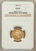 Three Dollar Gold Pieces: , 1882 $3 AU55 NGC. NGC Census: (19/171). PCGS Population (51/188).Mintage: 1,500. Numismedia Wsl. Price for problem free NG...