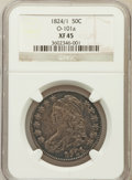 Bust Half Dollars, 1824/1 50C Overdate, O-101a XF45 NGC. NGC Census: (11/52). PCGSPopulation (15/79). Numismedia Wsl. Price for problem free...