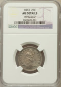 Seated Quarters: , 1863 25C -- Whizzed -- NGC Details. AU. NGC Census: (2/50). PCGSPopulation (0/58). Mintage: 191,600. Numismedia Wsl. Price...