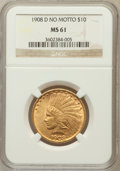 Indian Eagles: , 1908-D $10 No Motto MS61 NGC. NGC Census: (167/242). PCGSPopulation (51/336). Mintage: 210,000. Numismedia Wsl. Price for...