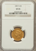 Three Dollar Gold Pieces: , 1857-S $3 VF35 NGC. NGC Census: (5/144). PCGS Population (17/95).Mintage: 14,000. Numismedia Wsl. Price for problem free N...
