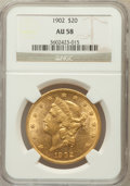Liberty Double Eagles: , 1902 $20 AU58 NGC. NGC Census: (117/331). PCGS Population (87/408).Mintage: 31,140. Numismedia Wsl. Price for problem free...
