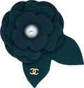 Luxury Accessories:Accessories, Chanel Pearl & Teal Felt Camelia Pin. ...