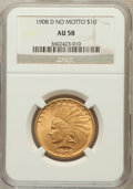 Indian Eagles: , 1908-D $10 No Motto AU58 NGC. NGC Census: (298/432). PCGSPopulation (220/408). Mintage: 210,000. Numismedia Wsl. Pricefor...