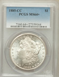Morgan Dollars: , 1885-CC $1 MS64+ PCGS. PCGS Population (7106/4966). NGC Census:(3286/2604). Mintage: 228,000. Numismedia Wsl. Price for pr...