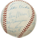 Autographs:Baseballs, 1957 St. Louis Cardinals Team Signed Baseball. Much star power wasa hallmark of the Cardinals teams of the era, and the 19...