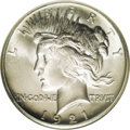 Peace Dollars: , 1921 $1 MS67 NGC. Just over a million pieces were struck of the1921 Peace dollar, a low mint...